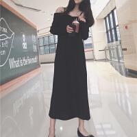 宽松显瘦一字领吊带连衣裙女春季新款韩版纯色百搭长袖针织中长裙