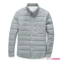青年男士冬装羽绒棉衬衫外套保暖寸衣内搭外穿修身型格子小棉衣