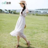 茵曼夏装新款系带收腰格子印花不规则短袖雪纺连衣裙女【F1882102919】