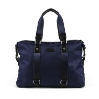 男士旅行包手提包简约商务包防水出差包单肩包旅游包女轻便行李包 深蓝色 大