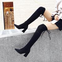 过膝长靴女高跟2018新款秋冬靴子粗跟显瘦长筒靴尖头高筒靴潮
