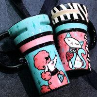 仟度彩绘马克杯 大容量陶瓷杯子带盖带勺水杯咖啡杯 创意情侣杯子