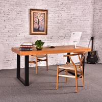 美式家具办公桌简约现代实木电脑桌复古书桌铁艺会议桌长方形餐桌 桌 长200cm宽80cm高75cm木板5cm