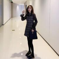 蕾丝拼接假两件连衣裙女春秋冬2018新款韩版气质显瘦格子短裙子 黑色