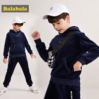 巴拉巴拉儿童套装男童秋冬2018新款中大童两件套撞色连帽卫衣裤子