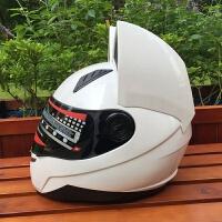 猫耳朵头盔摩托车全盔越野男女赛车头盔四季防雾全覆式猫耳安全帽