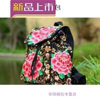 新款民族风绣花包包刺绣帆布休闲旅行学生书包女士双肩包背包SN3313