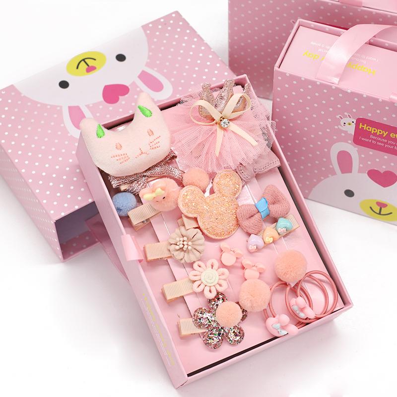 18件套儿童礼盒装发饰婴儿头饰女童发夹韩国皮筋可爱萌萌哒小宝宝公主发卡夹子