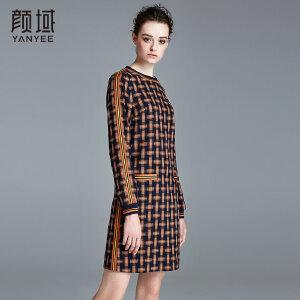 颜域品牌女装2017秋冬新款简约格纹复古圆领裙子长袖通勤OL连衣裙