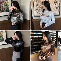 秋冬女装韩国chic复古半高领字母长袖T恤上衣修身显瘦丝绒打底衫