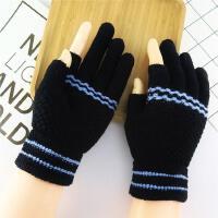 冬天半指露漏手套保暖手指毛线半截两用加厚学生三指手袜写字韩女