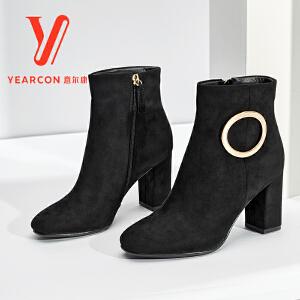 意尔康女鞋2017冬季新款方头粗跟绒面靴子女靴加绒保暖高跟短靴女