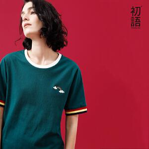 初语2018夏季新款圆领条纹披头士刺绣宽松短袖t恤女chic上衣港味