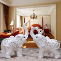 陶瓷大象摆件象一对创意客厅家居装饰品结婚礼物风水摆件镇宅 (大号)