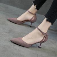 �\口尖�^�涡�女2018新款高跟鞋少女一字扣�跟鞋�跟百搭5cm中跟SN2945