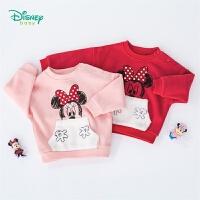 【2件3.5折到手价:57.4】迪士尼Disney童装 女宝宝保暖加绒卫衣米妮卡通印花上衣秋季新品女童T恤 193S1