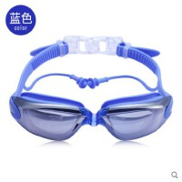 泳镜大框电镀防水防雾高清游泳眼镜装备男女士成人儿童通用带耳塞