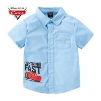 【3件2折后:45.9元】迪士尼赛车总动员童装男童夏装2020春夏新品印花短袖衬衫