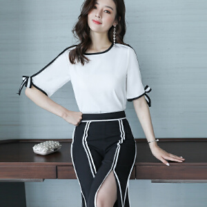 女装2018夏季新款女神范显瘦时尚气质两件套套装