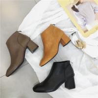 短靴女秋冬新款韩版复古方头百搭简约气质女靴及裸靴子