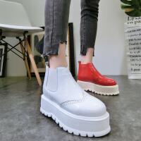 韩版春季新款漆皮布洛克厚底松糕坡跟及踝靴短靴马丁靴棉靴女鞋潮