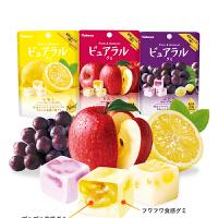 日本进口零食kabaya卡巴也桃子/葡萄味45克*3袋 网红果汁夹心软糖水果糖果