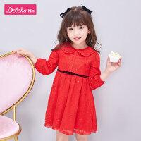 笛莎童装女童连衣裙2021春季新款儿童小公主时尚洋气宝宝红色新年裙