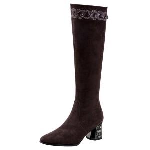 WARORWAR法国新品YG11-8252冬季欧美反绒内增高坡跟低跟鞋女鞋潮流时尚潮鞋百搭潮牌靴子马丁靴短靴