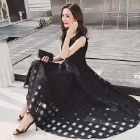 夏季新款韩版时尚修身高腰圆领无袖背心裙格子连衣裙女长裙子