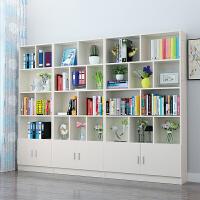 书柜书架简约现代简易落地书橱自由组合儿童置物架储物收纳柜带门3ug