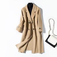 2018秋冬新款双面绒大衣女中长款宽松韩版小个子羊毛呢风衣外套