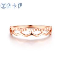 佐卡伊 玫瑰18K金戒指素金K金女戒 时尚珠宝送女友