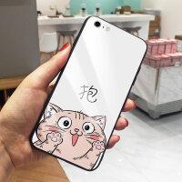 猫咪文字苹果7plus手机壳iPhone6S可爱卡通7个性玻璃X全包软硅胶边8情侣保护套8plus个 6/6s 抱白底