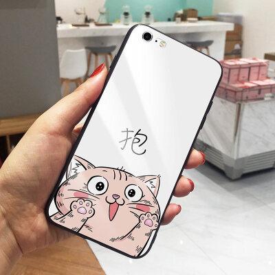 猫咪文字苹果7plus手机壳iPhone6S可爱卡通7个性玻璃X全包软硅胶边8情侣保护套8plus个 6/6s 抱白底猫