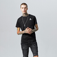 美特斯邦威短袖T恤男士 夏季新款骷髅印花上衣726490商场同款