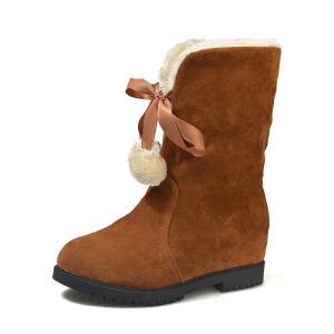 WARORWAR新品YM85-1523冬季韩版磨砂反绒低跟鞋舒适女士女靴短靴雪地靴