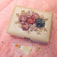 创意花朵首饰盒欧式宫廷首饰盒双层木质珠宝饰品盒首饰收纳盒