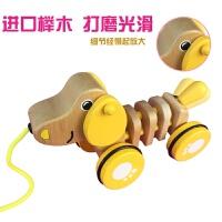 拖拉玩具儿童宝宝木质拉线车幼儿园1-3岁婴儿动物狗狗拉绳小拉车 新款榉木小狗 新款榉木小狗