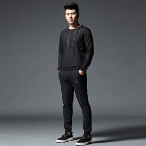 2017秋季男士套装男韩版青年修身竖条纹休闲运动潮流两件套