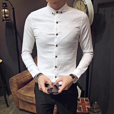 衬衫男长袖冬季新款韩版潮流修身休闲加绒保暖棉麻打底衫男士衬衣 白色 不加绒6010 发货周期:一般在付款后2-90天左右发货,具体发货时间请以与客服商的时间为准