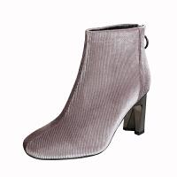 冬季高跟马丁靴2018新款短靴女士高跟鞋百搭粗跟圆头加绒棉短靴