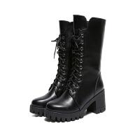 马丁靴女英伦风粗跟加绒短靴子女冬季高跟中筒靴高帮棉鞋女靴 黑色 单里