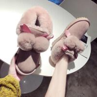 雪地靴女冬季甜美毛球雪地靴女时尚加绒保暖防滑兔毛棉鞋