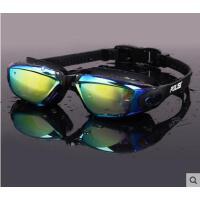 时尚美观泳镜近视防雾大框电镀炫彩男女游泳眼镜一体带耳塞泳镜