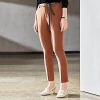 【清仓89元】YHMW秋装新款裤装时尚休闲裤微弹高腰直筒显瘦西裤长裤