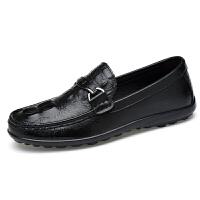 秋冬季鳄鱼纹豆豆鞋男真皮软底驾车鞋大码47商务休闲皮鞋46懒人鞋子 黑色白色棕色 38-47