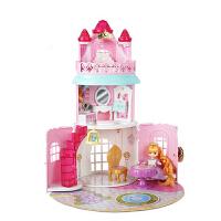 迷你玫美美长发城堡别墅女孩儿童公主屋过家家房子玩具 【赠2娃娃】迷你玫美长发城堡组14551