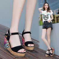 夏季新款坡跟凉鞋女高跟鞋子女学生韩版平底粗跟防水台一字扣女鞋