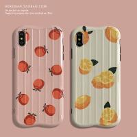 日韩简约iPhone6s plus手机壳苹果 max软壳xr防摔保护套7/8女款 苹果6/6s 粉底桔子