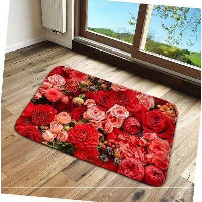 喜庆花朵进门地垫防滑吸水地垫客厅卧室卫生间厨房脚垫